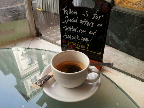 Get Coffee, 3 Fleet Street, WC2 (end of Strand, opposite High Courts)